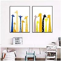 絵画 カラフルなミニマリストキリンキャンバスアートプリント絵画ポスター子供部屋の壁の写真家の装飾19.7x27.6in(50x70cm)x2pcsフレームなし
