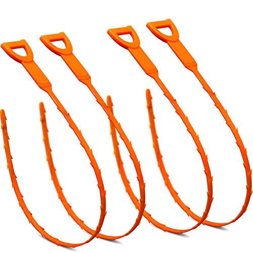 longsen 4 Pack 20.3Inch Drain Snake Hair Drain Clog Remover Cleaning Tool