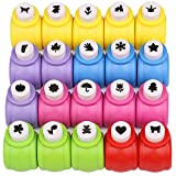 Katfort Paper Punches Set 20 Pack, Mini Hole Punch Shapes 20 Patterns Paper Punches for Scrapbooking DIY Crafting Puncher for Paper