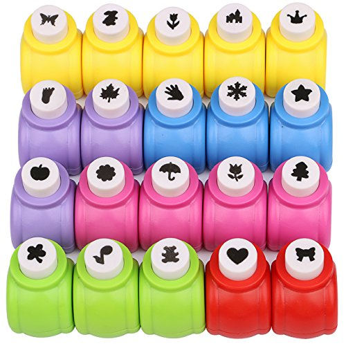 Katfort Paper Punches Set 20 Pack, Mini Hole Punch Shapes 20 Patterns Hole Puncher for Crafts Paper Craft Puncher Set for Scrapbooking DIY Crafting