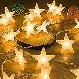 Uping LEDスターライト イルミネーションライト 星型30LEDライト 省エネ 二つの点灯モード 防水設計 クリスマス飾り ヒトデ/飾りスター 電池式 ガーデン・イベント・パーティー・結婚式・学園祭最適 (ウォームホワイト/4.5m /30球)イルミネーション 飾り
