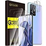 QULLOO Verre Trempé pour Xiaomi Mi 11T 5G/11T Pro 5G [3 pièces] + Caméra Protecteur [3 pièces], Protecteur D'écran Ultra Résistant Dureté 9H Film Protection Écran