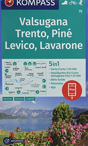 KOMPASS Wanderkarte Valsugana, Trento, Piné, Levico, Lavarone: 5in1 Wanderkarte 1:50000 mit Panorama, Aktiv Guide und Detailkarten inklusive Karte zur ... Skitouren. (KOMPASS-Wanderkarten, Band 75)