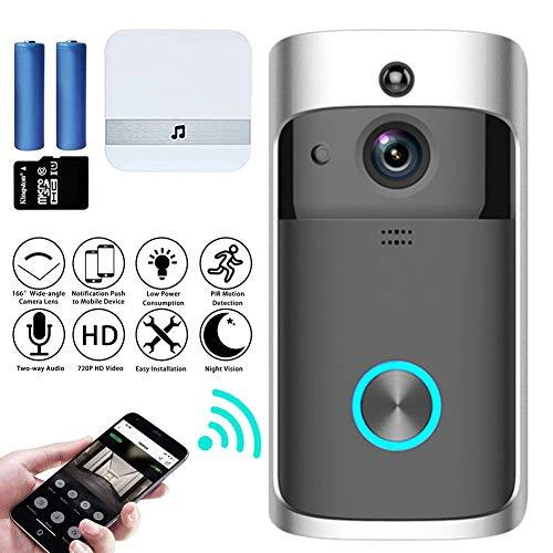 M-TOP video-intercom, deurbel met camera, wifi, video, deurintercom, draadloze 720p, HD doorbell, camera met bewegingsmelder, 2-weg audio, nachtzicht, intercom, videogray-A
