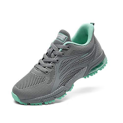 NewNaisu Damen Sneaker Laufschuhe Air Turnschuhe Leichte Luftkissen Sportschuhe Atmungsaktiv Joggingschuhe Straßenlaufschuhe Grau 42 EU