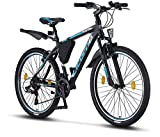 Bicicleta de montaña Licorne Bike Effect de 26 pulgadas, cambio Shimano de 21 velocidades, suspensión de horquilla, bicicleta para niños y hombre, bolsa para cuadro