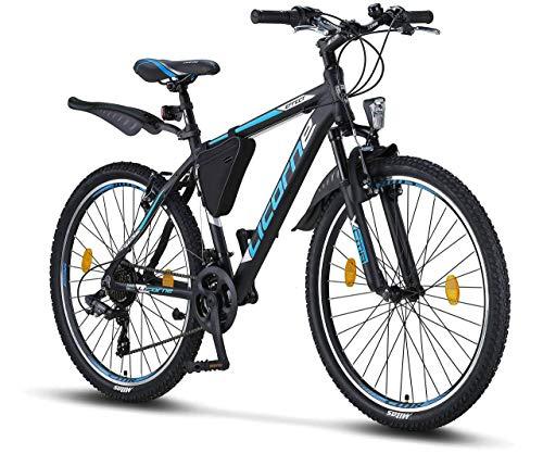 Licorne Bike Effect (Schwarz/Blau) 26 Zoll Mountainbike, MTB, geeignet ab 150 cm, Shimano 21 Gang-Schaltung, Gabelfederung, Jungen-Fahrrad