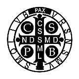 Saint Benedict Catholic Religious White Vinyl Window Decal Sticker for Cars or Laptops, 3 1/4 Inch