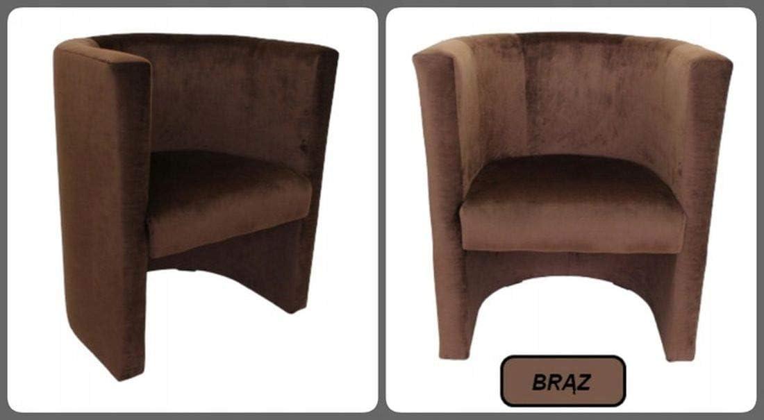 Marthome Fauteuil Club Véro, chaise rembourrée, tabouret en velours aiguilleté, fauteuil pour salon, bureau, hôtel (vert) Cappuccino