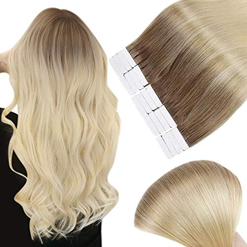 Full Shine Tape In Hair Extensions 22 Inch Long Silky Straight Human Hair Dye Color 6 Medium Brown To 613 Bleach Blonde Glue On Hair Extensions 50 Grams Blonde Human Hair 20 Pieces