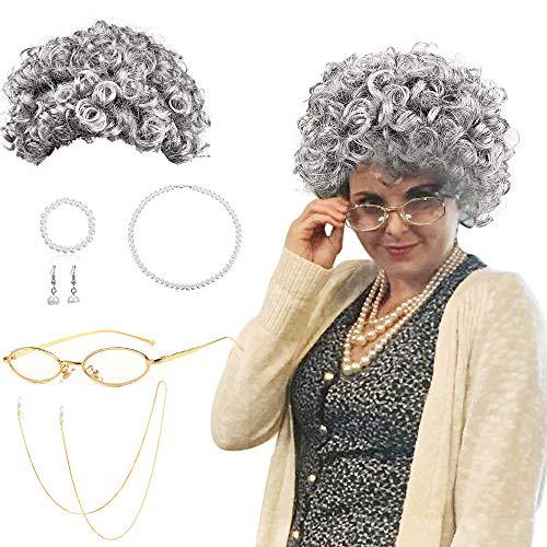 SPECOOL Oma Perücke Damen Großmutter Set Cosplay Zubehör mit Locken Oma Perücke, Madea Oma Brille, Brillenketten Kordelriemen, Perlenschmuck Oma Verkleidung für Fasching Karneval