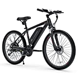Cybertrack 100 26' Electric Bike, 3 Hours Fast Charge, BAFANG 350W Brushless Motor, 36V/10.4Ah Removable Lithium-Ion Battery, Electric Mountain Bike with Shimano 21-Speed and Suspension Fork