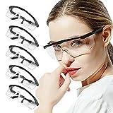 フェイスシールドグラス 5個セット ガード 眼鏡 メガネ 細菌飛沫対策 安全ゴーグル 飲食店 接客 曇り防止 業務用 美容 洗える