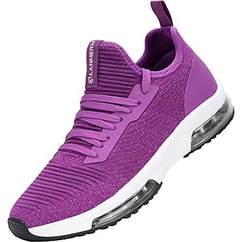 LARNMERN PLUS Zapatillas de Deporte Mujer Ligero Transpirable Air Zapatos para Correr Antideslizantes Amortiguación Comodos Caminar Zapatos Gimnasio Running Trabajar(Morado,37)