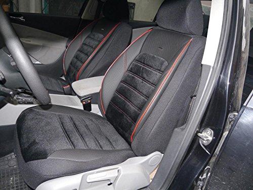 Sitzbezüge K-Maniac für Golf IV | Universal Schwarz Rot | Autositzbezüge Set Komplett | Autozubehör Innenraum | No. 4 | Kfz Tuning | Sitzbezug | Sitzschoner