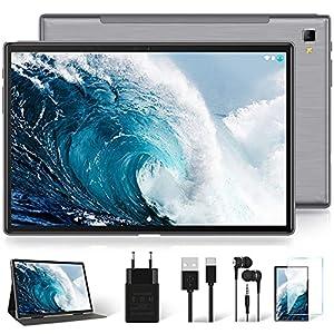 4G LTE Tablet 10 Pulgadas con 5G WiFi, Octa-Core Android 10 Original YESTEL Tablet Certificación Google GMS, FHD 1920 * 1200 IPS/1.6 GHz/Face ID/Doble SIM/64GB Ampliables hasta 128GB, Gris Espacial