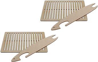 Conjunto de 2 conjuntos de tear de madeira F Fityle de tecelagem multifuncional DIY