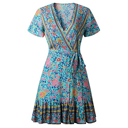 ZESICA Women's Summer Wrap V Neck Bohemian Floral Print Ruffle Swing A Line Beach Mini Dress Green