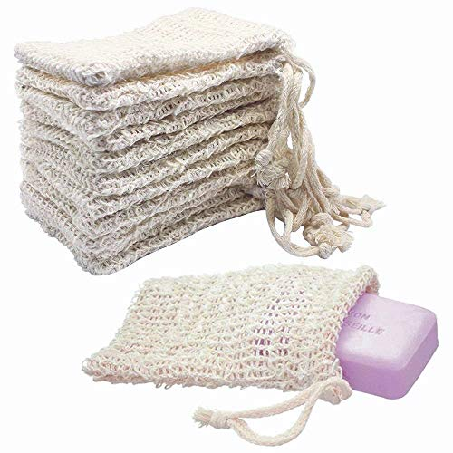 KIPETTO 15Pcs Natural Sisal Soap Bags Exfoliating Mesh Soap Saver Pouch, 5.5'x3.5