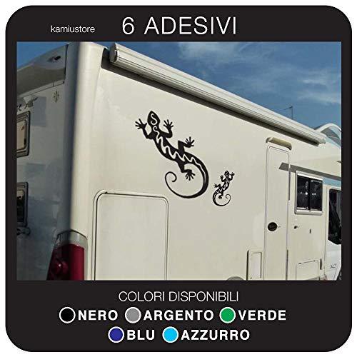 kamiustore Adesivo Geco per Camper, roulotte e Van in Vinile - Kit 6 Adesivi - 2 Adesivi 55x40 cm + 4 Adesivi 15x8cm (Nero)