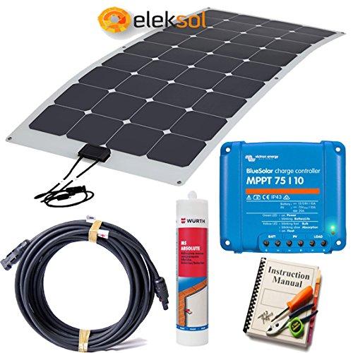 Kit Solar Autocaravana, Camper o embarcación 100W HQ, con placa flexible (ETFE) 100W, Regulador MPPT Victron 75/10, Cable con conectores, Pasacables estanco, Masilla adhesiva y Guía de montaje