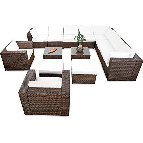 XINRO® erweiterbares 41tlg. Polyrattan XXXL Lounge Set - braun-Mix - Garnitur Gartenmöbel Sitzgruppe Lounge Möbel Set - inkl. Lounge Ecke + Sessel + Hocker + Tisch + Kissen