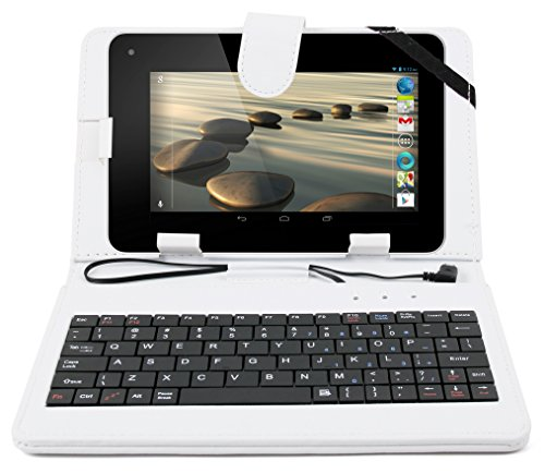 DURAGADGET White Faux Leather Case w/QWERTY Keyboard & Micro USB Connection - Compatible with Acer Iconia Tab B1-710 | Iconia Tab B1-721 | B1-720 | B1-730 | Tab 8 W & Talk S A1-724