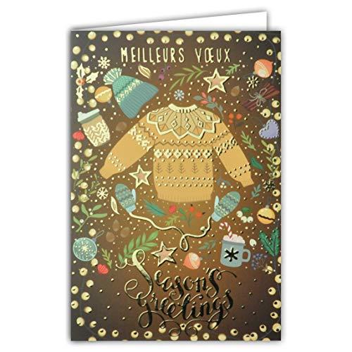 Season's Greetings Accessoires voor de winter, truien, muts, bommel, vuistjes, chocolade, warm, kerstballen, lichtkettingen, ster, kaneel, hazelnoten, haken, bruin, geelgoud, goudkleurig