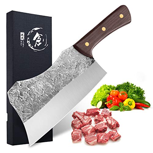 Hand Forged Cleaver Knife Bone Cutting 7 Inch High Carbon Steel Heavy Duty Meat Butcher Knife Full Tang Chef Knife for Kitchen or Restaurant