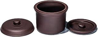 Barm Olla de estofado de Cacerola de cerámica Zisha Nido de pájaro de cerámica Olla de estofado Olla de Agua con 2 Tapas Vaporizador Utensilios de Cocina saludables sin esmaltar Púrpura 0,73 cuar