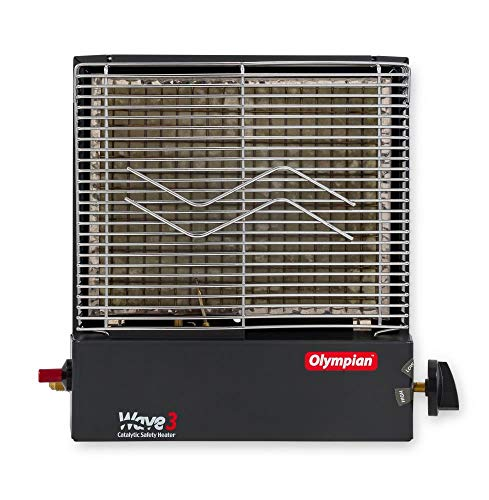 Camco Olympian RV Wave-3 LP Gas Catalytic Safety Heater, Adjustable 1600 to 3000 BTU, Warms 130 Square Feet of Space, Portable and Wall Mountable