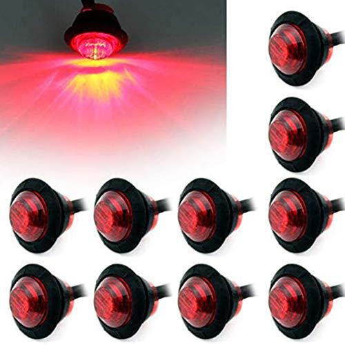 HYWL 10PCS Red Round LED Front Rear Side Marker Indicators Light Waterproof Bullet Marker Light 12V for Car Truck