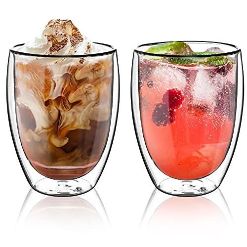 Topsky 2X 350ml Doppelwandig Gläser,doppelwandige kaffeegläser ,Latte Macchiato Gläser,roße Doppelwandige Gläser aus Borosilikatglas,Teegläser,Kaffeegläser
