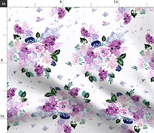 Spoonflower Fabric - Lilac Lavender Purple Floral Flowers Bouquet Violet Printed on Modern Jersey Fabric by The Yard - Fashion Apparel Clothing with 4-Way Stretch