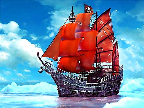 5D DIY Diamond Painting Ship Landscape Corss Stitch Kit Full Drill Embroidery Mosaic Art Picture of Rhinestones Decor A15 30x40cm