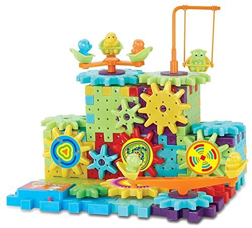82 Pcs Blocks and Gears Construction Interlocking Building Game Challenge Educational Building Toy Set Motorized Spinning Gears for Children Kids Boys Girls ~ Cafolo