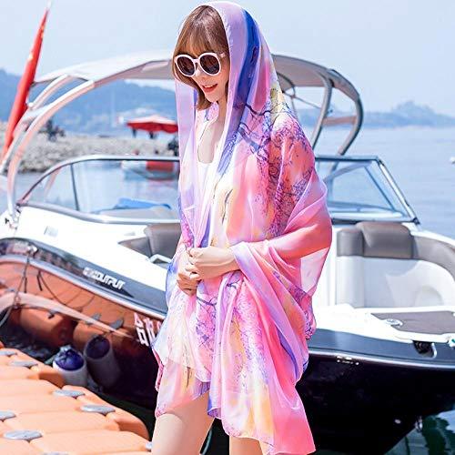 Damen Schal Chiffon-Oversize Sommer Frauen Strand Schal Schals Pareo Weiblichen Schals Foulard Vertuschungen Wraps Chiffon Bandanna Damen 37_180X150Cm