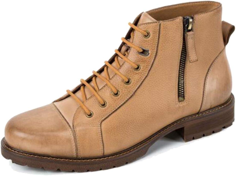 Genuine läder Martin Martin Martin stövlar High Booslipss Lace ups utomhus Ankle stövlar for män Work Formal Dress Deart stövlar, Apricot,42  rabattbutik
