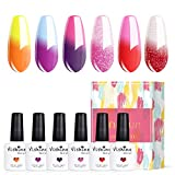 Vishine Color Changing Gel Nail Polish Set Mood Nail Gel Polish Temperature Color Changing UV LED Varnish Chameleon Gel Nail Art 10ml (Set002)