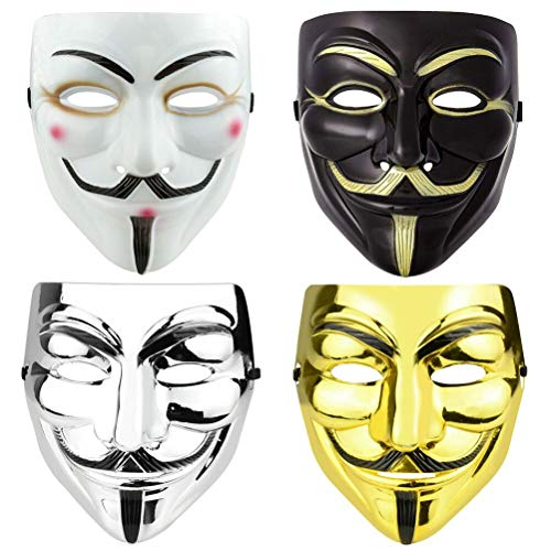 FAVENGO 4 Pcs Máscara de Dalí máscara de V de Vendetta Mask Guy Fawkes Mascara de halloween Máscara de Salvador Dali Careta Mascaras de Terror para Niños y Adulto Fiesta de Halloween Disfraz Carnaval