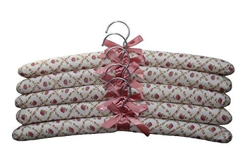 Nopea Kleiderbügel Satin Aufhänger Cotton Satin Gepolsterte Kleiderbügel mit Elfenbeinfarbenem Schleife Gepolstert Satin Aufhänger 5 Stück