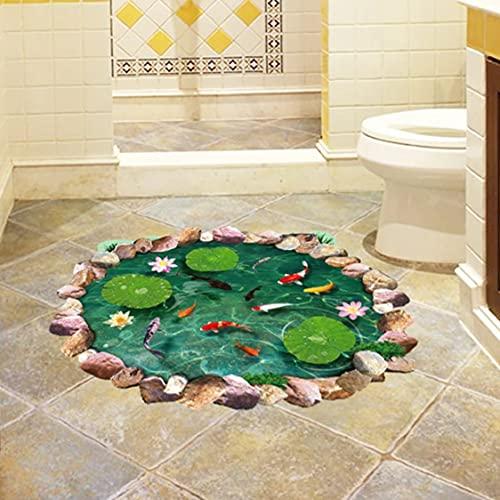 Rjjrr Lotus Pond 3D Pegatinas De Suelo Peces En Agua Pegatinas De Pared Pvc Vinilo Decoración Del Hogar Baño Dormitorio Suelo Decoración Impermeable Habitación De Los Ni?Os