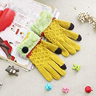 SGJFZD 2 Pack Full Touch Screen Finger Wool Gloves Thermal Gloves (Color : Yellow)