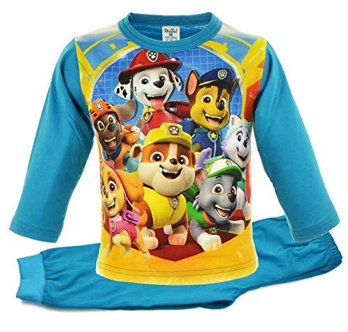 Svetli Schlafanzug Junge Langarm | 100% Baumwolle | Pyjama | Nachtwäsche | Pyjama Set | Schlafanzug Lang | Paw | Blau | Zweiteiliger Schlafanzug (110, Blau 7)