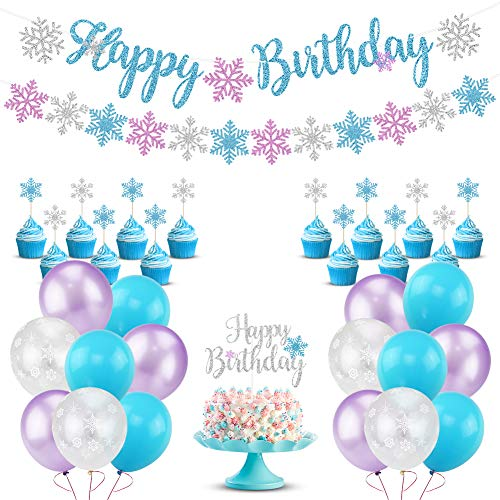 Snowflake Birthday Party Decorations with Happy Birthday Snowflake Banner, Cake Toppers, Purple Blue White Snowflake Balloons for Winter Wonderland Christmas Baby Shower Frozen Birthday Party Supplies