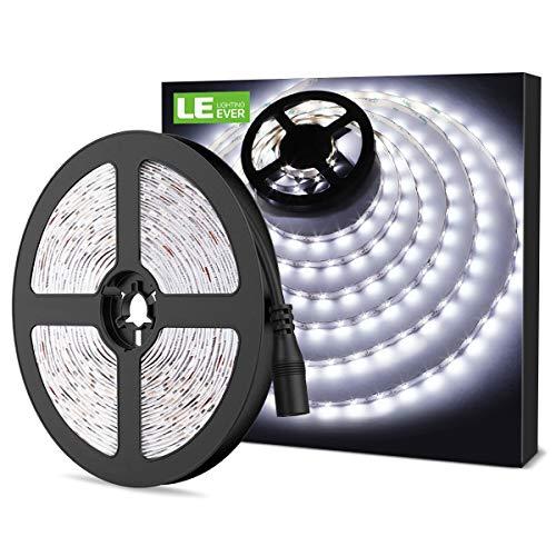 LE Tira LED, Cadena de Luces, 5m 300 LED SMD 2835, Blanco Frío No Impermeable 6000K para Techo, Escaparate, Muebles, etc.