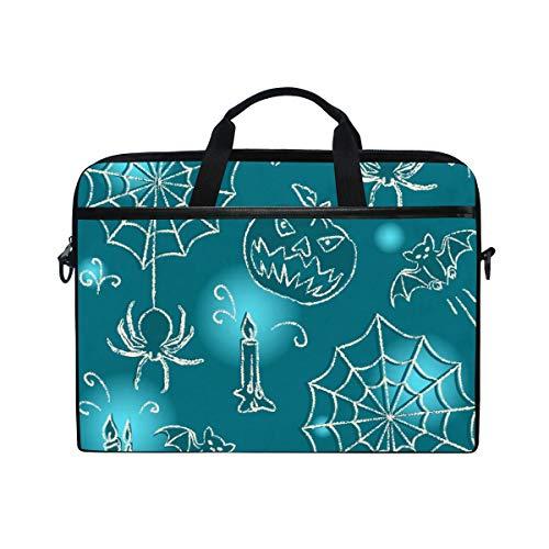 EZIOLY Halloween Spider Bat Candle Laptop Shoulder Messenger Bag Case Sleeve for 13 Inch to 14 inch Laptop