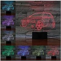 3Dイリュージョンナイトライト 車のモデルライト スマートタッチ キッズ3Dナイトライトベッドサイドランプおもちゃライト7色変更コントロール男の子のための最高のクリスマスと誕生日プレゼント子供