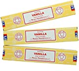 3X Vanille Satya Nag Champa Bâtons d'encens Encens 15g avec badge de souvenir par Sterling Effectz
