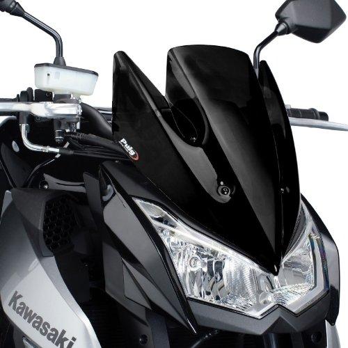 Puig 5254N Windschutzscheibe Cockpitverkleidung für Kawasaki Z1000 2010-2013, Schwarz, Medium